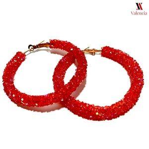 Jewelry - Red Rhinestone Hoops